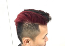 Sideview of male hair cut with partial colour - Kittn Salon & Spa - Beauty Parlour Karnal +91 184 404 2229 174 and Ludhiana + 91 161 410 0076.