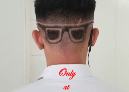 Hair tattoo of sunglasses on head - Kittn Salon & Spa - Beauty Parlour Karnal +91 184 404 2229 174 – L, Model Town, Karnal, Haryana-132001
