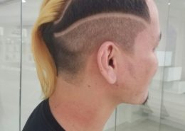 Side view of hair tattoo with blonde top - Kittn Salon & Spa - Beauty Parlour Karnal +91 184 404 2229 174 and Ludhiana + 91 161 410 0076.