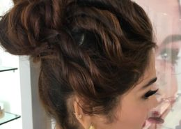 Side view of hair up for formal event - Kittn Salon & Spa - Beauty Parlour & hair salon Karnal +91 184 404 2229 174 and Ludhiana + 91 161 410 0076.