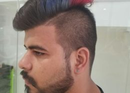 Side view of male style cut with colour highlites - Kittn Salon & Spa - Beauty Parlour & hair salon Karnal +91 184 404 2229 174 – L, Model Town, Karnal, Haryana-132001